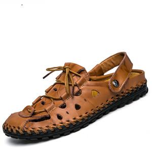 Männer 100% echtes Leder neue berühmte Marke Casual Männer Sandalen Hausschuhe Sommer Schuhe Strand Flip Flops Chinelo Masculi