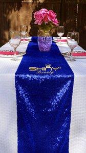 Nouvelle liste ! Chemin de table bleu royal à sequins 12 '' * 108 ''. Table de cocktail à sequins et nappes pour les décorations de mariage / fêtes!