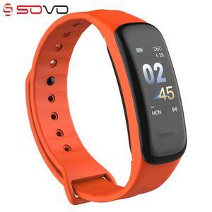 SOVO B77 2018 Smart Armband C1 Farbdisplay Wasserdichtes Armband Pulsmesser Blutdruckmessung Fitness Tracker Band
