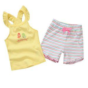 2018 summer baby kids girls clothes set sleeveless Tshirt and short pants 2pcs sets floral designs cotton material hotsale