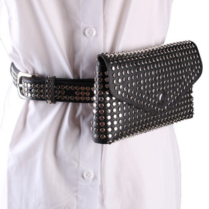 2018 Rivets Waist Pack  Designer Fanny Pack chest bag Small Women Waist Bag Phone Pouch Punk Belt Purse