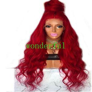 Parrucche sintetiche rosse lunghe della parte anteriore del pizzo della parrucca con parrucca ondulata Glueless di densità del 180% dei capelli del bambino termoresistente per le donne