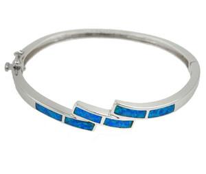 Mode Fine Bleu Opale de Feu Bracelets Bracelet 925 Sterling Sliver Bracelet Bleu pour Femmes Mode Bracelet Jewlery Cadeau D'anniversaire