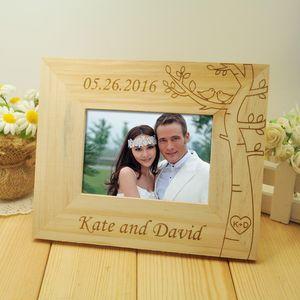 Cadre photo personnalisé de mariage, images de couple de mariage en bois, cadre rustique, décor à la maison, cadeau, photo de 5 pouces