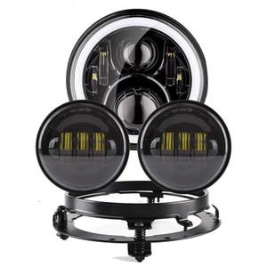 """Far Motosiklet Parçaları 7 """"LED Motor Far 4.5"""" 4 1/2 inç Miras Softail Classic Için Geçen Işıklar"""