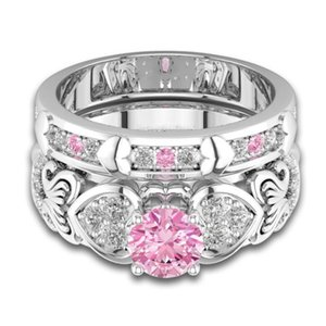 Victoria Pink Couple Bridal For Her Luxury Diamond Sapphire CZ Silver Gift Wieck 925 Sterling Jewelry Women Wedding Rings Ring Set Fill Ajuw