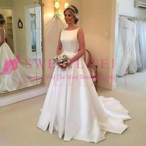 2019 Elegant Jewel Neck A Line Brautkleider Sleeveless Stain Sweep Zug Country Style Brautkleid Nach Maß Heißer Verkauf