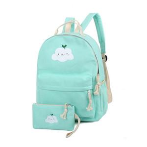 2017 Женщины холст облако печати рюкзак набор женский опрятный стиль школы сумки на ремне для девочек Mochila рюкзак мешок dos