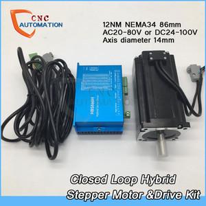 NEMA34 86mm Bride 12Nm 1714Oz-in DSP Boucle fermée Hybrid Stepper Motor Drive Kit Servo Facile pour CNC avec ventilateur de Coolling