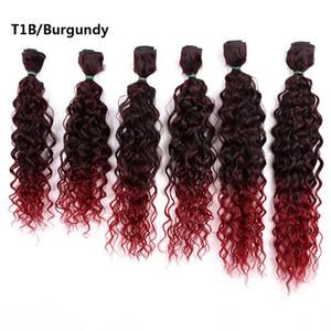 14-18inch Jerry 곱슬 머리 장식 합성 바늘 Ombre 분홍색 / 금발 / Burgundry 번들 6pcs / pack
