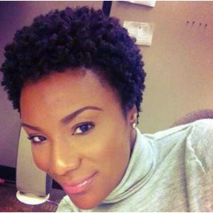 Top brazilian Hair African Ameri short kinky Curly Wig Simulation Human Hair curly full wigs in large stock