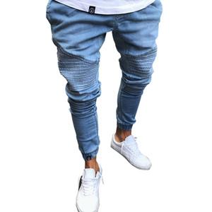 Männer Bleistift Hosen Biker Jeans drapiert stilvolle Slim Fit Jeans High Street Kleidung für Männer Denim Hosen Plissee Hosen