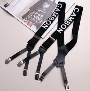 Men's and women's age-old letter straps adjust elastic elastic clip jeans trousers suspenders