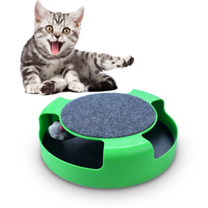 Juguete interactivo Cat Toy Tocadiscos Funny Cat Juguetes educativos Cat Scratching Plate Extraíble Mouse Pet Supplies Green