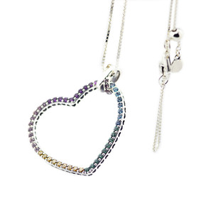 Compatible with Pandora jewelry 925 Sterling Silver Multi-Colored Heart Necklace For Women Original Fashion Pendants Charms Jewelry