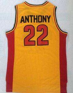 도매 오크 힐 고등학교 22 안소니 노란색 상단 메쉬 농구 유니폼 셔츠 탑스, 트레이너 농구 저지 탑스, 농구 착용