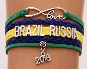 Unendlichkeit Liebe armband Brasilien Peru Russland 2018 weltmeisterschaft schmuck Leder Nationalflagge frauen männer Armreifen geschenk Für Fußball Fans
