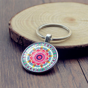 Mandala flower Time Gem Cabochon porte-clés Porte-clés été fait à la main Bijoux géométrie sacrée Livraison gratuite