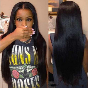 Ucuz peruk Uzun İtalyan Yaki peruk Kinky Düz Sentetik Dantel Ön / Tam Dantel Peruk Isıya Dayanıklı Fiber Siyah Kadınlar Için FZP82