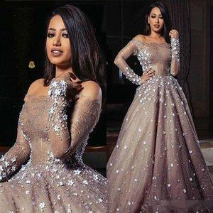 럭셔리 아랍어 두바이 드레스 저녁 착용 환상 오프 숄더 긴 소매 댄스 파티 복장 아플리케 레이스 페어 티드 파티 가운