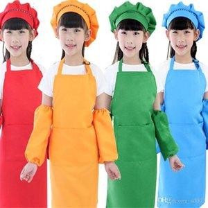 Çocuklar Için Boyama Apron Saf Renk Mutfak DIY Pişirme Ile Cep Önlükleri Ev Temizlik Araçları Birçok Renkler 5 8bs ZZ