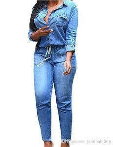 Оптовая бесплатная доставка плюс размер S-3XL мода джинсы женщины Sexy тонкий женщины брюки синий Feminino Весна Леди джинсовый комбинезон с длинными рукавами Тру