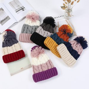 Зима новый цвет соответствия твист волос мяч вязать шляпу литературный дикий двойной теплый халявы уха шерстяная шапка