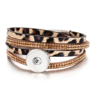 Novo botão de pressão pulseira de jóias 18 mm couro Snap pulseira Wrap Multilayer boêmio Leopard couro