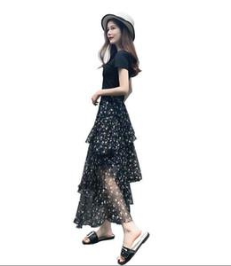 Abito in chiffon floreale estate 2018 vestito di due pezzi nuova moda femminile versione coreana del vestito da torta super fuoco ins