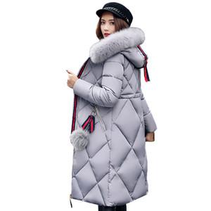 2017 Hiver Grande Fourrure manteau Femmes Épaissies Parka Couture Mince Long Coton Manteau Vers Le Bas Dames Wowan Parka Femelle Doudoune