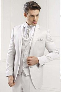 Classic White 3 Piece Suit Notch Lapel Two Button Men Wedding Tuxedos Men Business Prom Dinner Blazer(Jacket+Pants+Tie+Vest) Custom Made 457