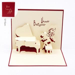 День рождения фортепиано поздравительные открытки 3D лазерная резка с Днем рождения пригласительные открытки подарочные карты открытки с конвертом