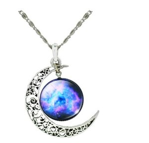 New Starry Glass Pendentif en cristal Star Trek Collier Hommes et femmes Starry Moon Time Collier de pierres précieuses