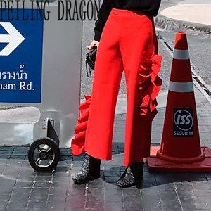 PEILING EJDERHA bayanlar moda gevşek geniş bacak pantolon iki yanları 3d ruffles petal aplikler rahat pantolon kapriler pantolon T314