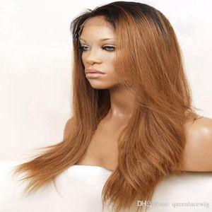 Ombre peluca rubia 1B # / # 27 # 30 # 33 Dos tonos de color sintético frente peluca de encaje Onda natural resistente al calor 150density pelo para mujeres de moda