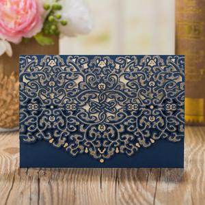 50 PCS Lot Dark Blue Laser Cut Floral Flower Hollow Wedding Invitations Elegant Marriage Banquet Celebration Greeting Cards