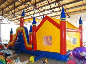 2018 buena calidad personalizada PVC inflable bounce casa inflable inflable y tobogán combinado