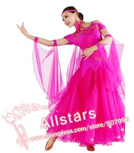 O envio gratuito de New S-XXL 10 cor-de-rosa vestido vermelho azul rosado moderno traje valsa de dança de salão competição verde h-0552