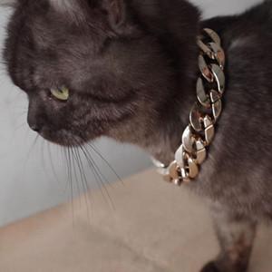 Ouro Sliver dog collar chain Moda Charme Cadeia de Ouro Pet Dog Cat liberação rápida Colar Collar Acessório Pet colares 2018