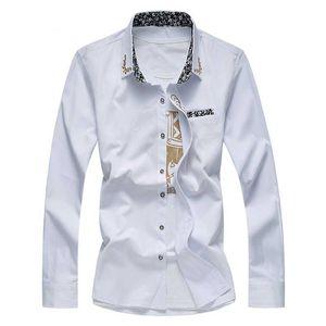 أربعة مواسم ذات جودة عالية للرجال بلون مطرزة قميص طويل الأكمام قميص الرجل الأعمال وسهرة العريس