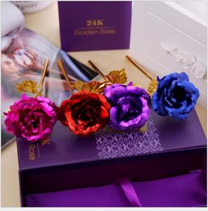 2018 Lover &#039 ;S Flowers 24k Golden Rose Wedding Decoration Golden Flower Romantic Valentine &#039 ;S Day Decorations Gift Gold Rose Pa