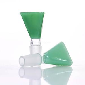 Ciotola di vetro conico blu giada verde giada 14mm / 18mm per tubo di acqua di vetro o gorgogliatore di bong