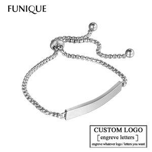 FUNIQUE Personnaliser Graver des Bracelets pour les Femmes en Acier Inoxydable Custome Personnalisé Identifiant Bracelet Logo Graver Nom Bracelets Femme