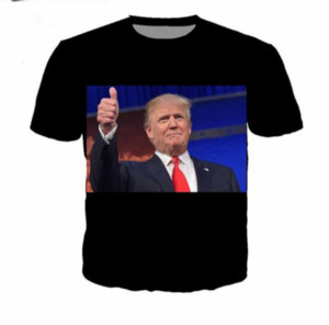 Wholesale-Newest Fashion Mens Womens Summer Style Donald John Trump Funny 3D Print Casual T-Shirt DXR0065