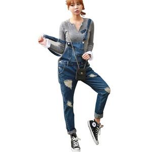 FDWERYNH Macacão Jeans 2018 Autumn Denim Jumpsuit Loose Women cheio do comprimento Calças Denim Macacões ocasional fêmea Romper macacões