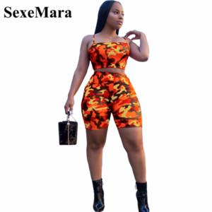 SexeMara камуфляж печати повседневная из двух частей набор растениеводство топ и брюки лето короткий спортивный костюм Женщины Sexy Bodycon ползунки D74-AA21