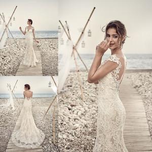 2019 Eddy K Sirena Vestidos de boda de playa Vestidos de boda de encaje completo Apliques Casquillo atractivo Vestido nupcial