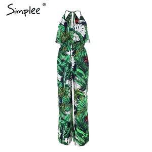 Simplee Ruffle Folha impressão sexy macacão Boho verde macacão mulheres jumpsuit 2018 elegante chiffon macacão de verão