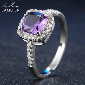 LAMOON 7mm 1.5ct Natürliche Quadrat Cut Lila Amethyst 925 Sterling Silber Verlobungsring Frauen Schmuck S925 LMRI039Y1882701
