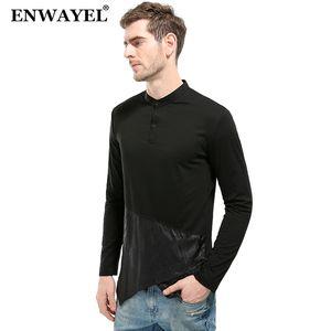 ENWAYEL 2018 осень нерегулярность футболка мужчины повседневная с длинным рукавом мода Лоскутная футболка мужской топ тройники одежда брендовая одежда